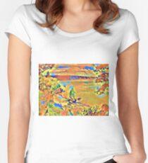 Orange Lakeshore  Women's Fitted Scoop T-Shirt