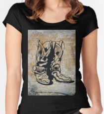 Cowgirl Cowboy Western Rodeo Boots Women's Fitted Scoop T-Shirt