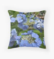 Blue Lace Cap Hydrangea Throw Pillow