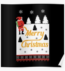 Ugly Christmas Sweater Santa Peeing in the Snow Yellow Snow Poster
