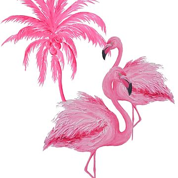 Coconut Palm Tree and Pink Flamingos by MatsonArtDesign