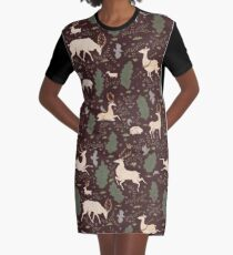 The Running of the Deer - Brown Graphic T-Shirt Dress