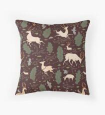 The Running of the Deer - Brown Throw Pillow