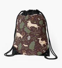 The Running of the Deer - Brown Drawstring Bag