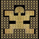 Replica of Pre-Columbian Pectoral Pattern in Gold Leaf on Black by Diego-t