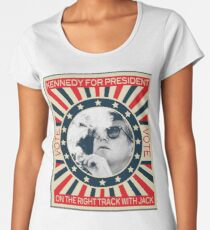 John F Kennedy Cigar and Sunglasses Campaign Poster Women's Premium T-Shirt