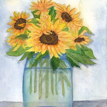 Sunflower Bouquet in Mason Jar by Lallinda