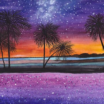Tropical Sunset Watercolor Print by Lallinda