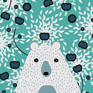 White bear in teal floral rain by cocodes