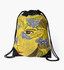 The Blue Butterfly Drawstring Bag