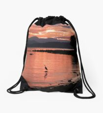 Sunset Heron Drawstring Bag