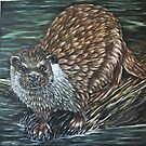 """European Otter"" - Oil Painting by Avril Brand"