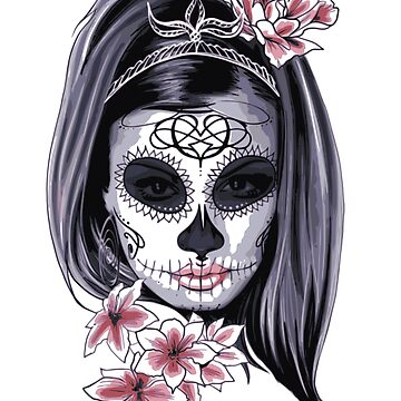 Female Sugar Skull Graphic - Halloween, Mardi Gras or Day of the Dead or Skull Fanatics by Julie7526