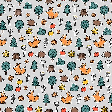 Funny cute autumn pattern. Fox and hedgehog. by kostolom3000