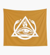 The Order of the Triad - White on Orange Wall Tapestry