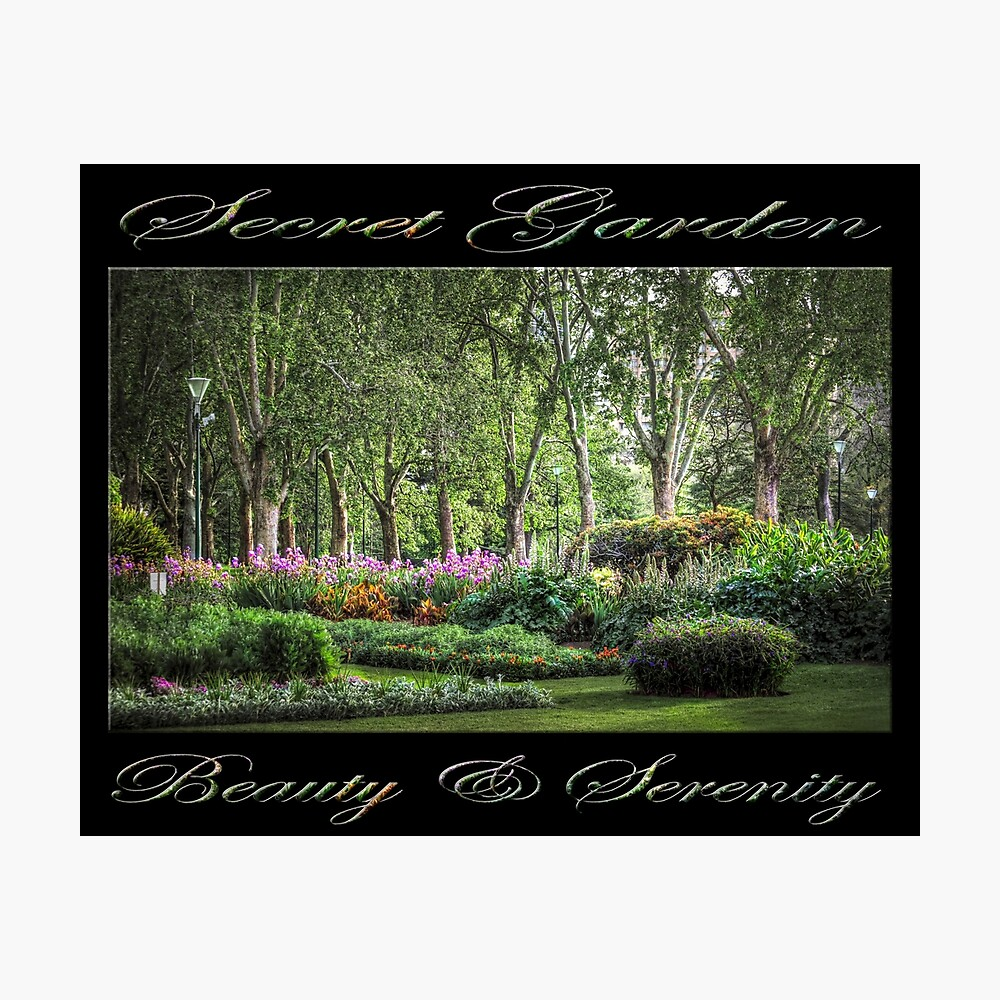Secret Garden, Beauty & Serenity (on black) Photographic Print