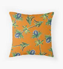 Blue Thistle and copper orange illustrated design Floor Pillow