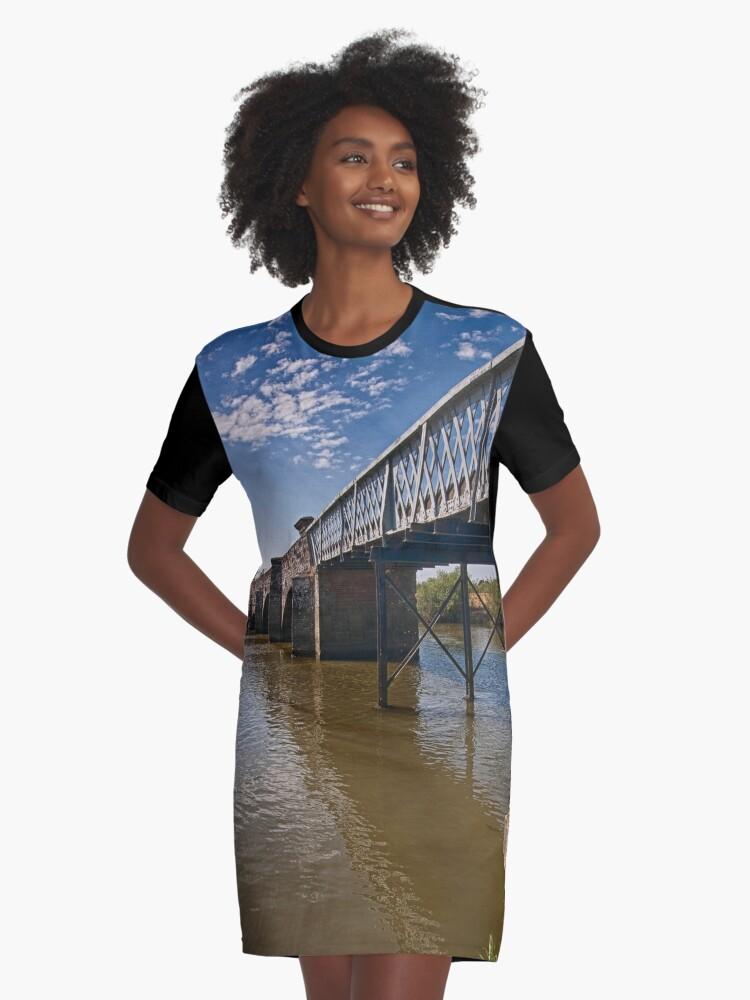 Greatham Bridge Graphic T-Shirt Dress Front