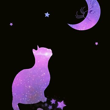 Cat in the moon galaxy version by mysticline