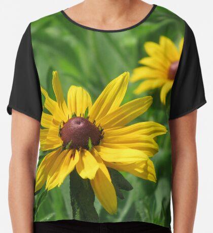 zauberhafte Blumenwiese, Blüten, Blumen, Sommer, Sonne, Natur, gelb Chiffontop für Frauen