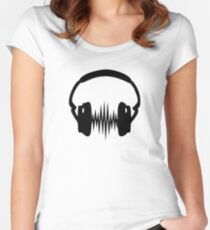 Headphone, Music, Disco, Dance, Electro, Trance, Techno, Wave, Pulse,  Women's Fitted Scoop T-Shirt