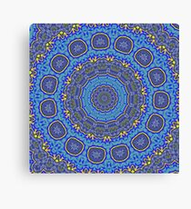 Intricate Purple, Blue  and Vivid Yellow Abstract Kaleidoscope Canvas Print