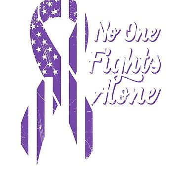 Pancreatic Cancer Awareness - US American Flag Patriotic Ribbon - No One Fights Alone by SuckerHug