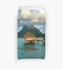 Bora Bora Tahiti Bungalow, Blue Water Tropical Paradise Duvet Cover