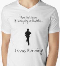 I was RUNNING! Men's V-Neck T-Shirt