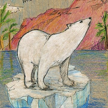 Polar bear standning on ice block. Global warming and climate change by rusmashart
