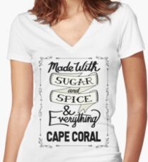 Sugar and Spice Cape Coral Women's Fitted V-Neck T-Shirt