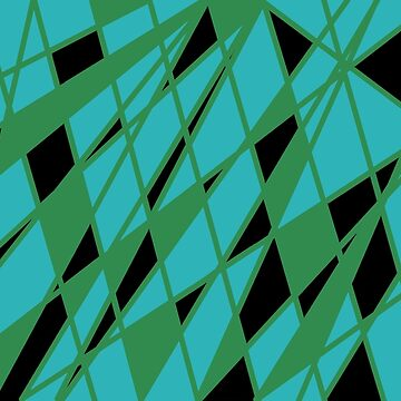 Abstract triangles in green, black and aqua by JoannieKayaks