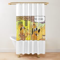 This Is Fine Meme Dog Shower Curtain