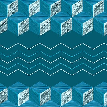 Сubes embroidered with smooth and zigzag stitch embroidered in blue tones by IrinkaArt