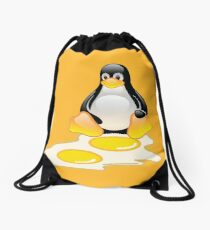 LINUX TUX PENGUIN TWINS SUNNYSIDE UP  Drawstring Bag