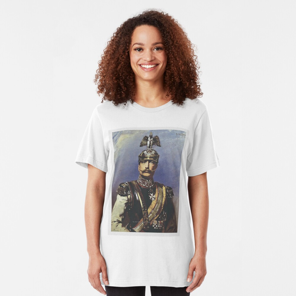 Kaiser Wilhelm II with Prussian Royal Guards helmet  Slim Fit T-Shirt