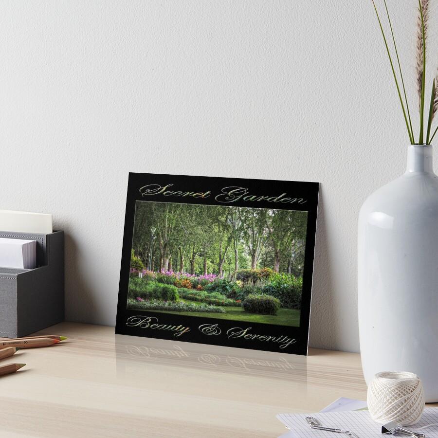 Secret Garden, Beauty & Serenity (on black) Art Board Print
