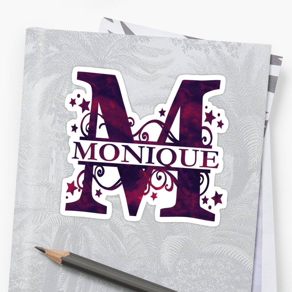 Monique Girls Name And Monogram In Dark Purple Stickers By