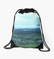 Green landscape Drawstring Bag