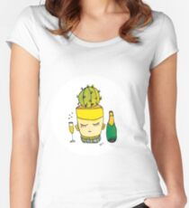 Champagne Charlotte The Drinking Cactus | Emma Watts Women's Fitted Scoop T-Shirt
