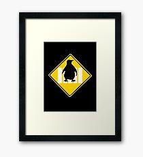 LINUX TUX PENGUIN CROSSING ROAD SIGN Framed Print