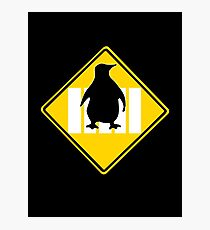 LINUX TUX PENGUIN CROSSING ROAD SIGN Photographic Print