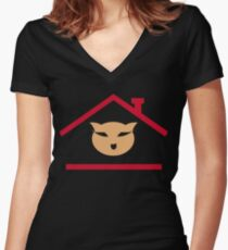 Cat House Women's Fitted V-Neck T-Shirt