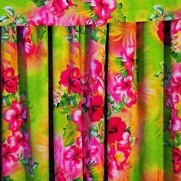 Pink Hibiscus Flower Fabric Wallpaper by nicoletteabides