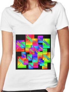 dragonfly circus Women's Fitted V-Neck T-Shirt