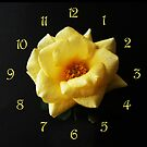Yellow Rose On Black Yellow Script Numbers Wall Clock by Alan Harman