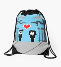 Pixel Love: We Found Love Drawstring Bag