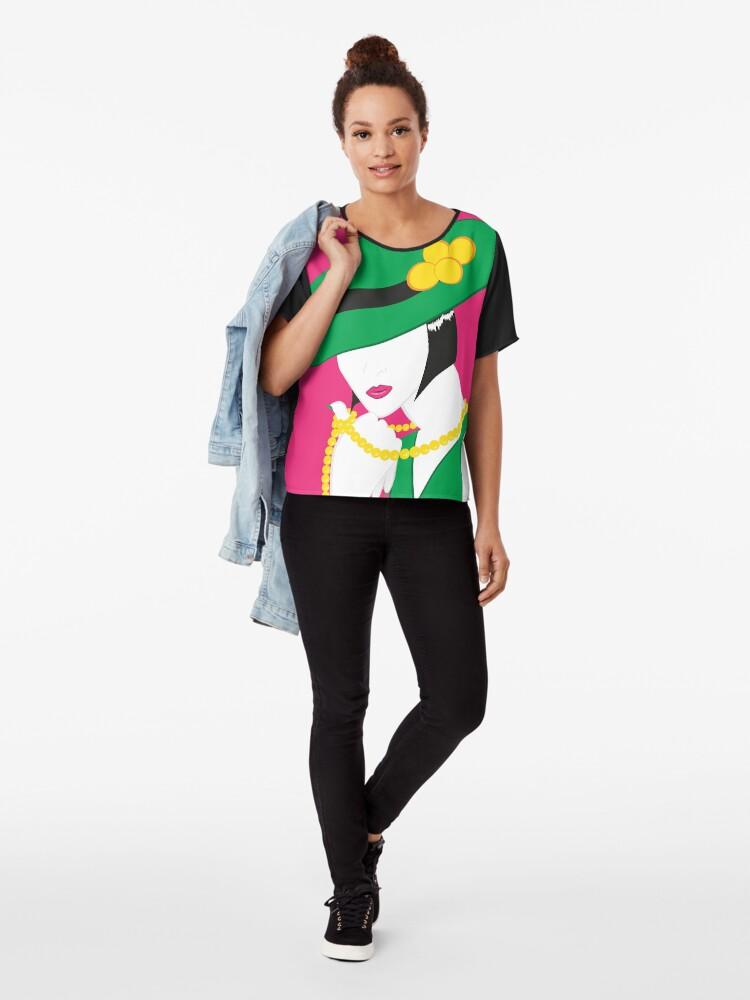 Alternative Ansicht von Madame - Grün und Pink Chiffon Top