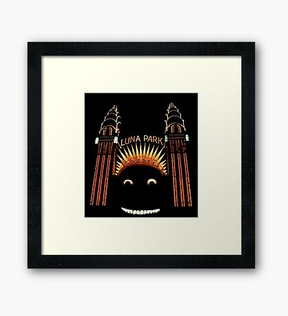 Looney Park - Luna Park at Night - Sydney - Australia Framed Print
