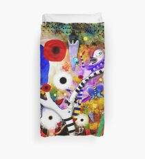 Since you are here  - Striped Tree Black and white - Rainbow Abstract Art Duvet Cover